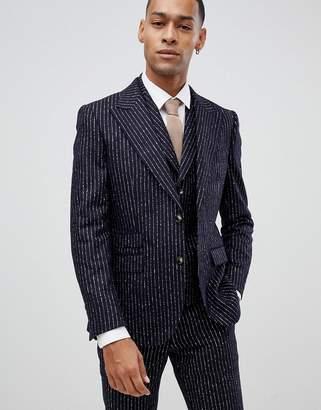 Moss Bros premium skinny suit jacket in 100% wool boucle stripe