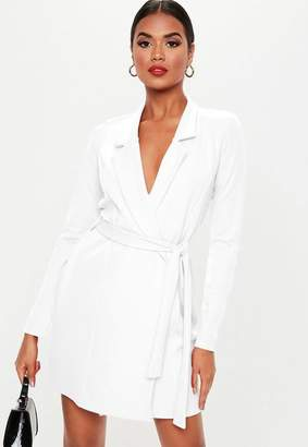 0f47d77fc81 Missguided White Long Sleeve Fitted Jersey Belted Wrap Dress
