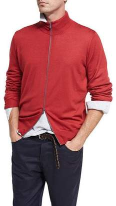 Brunello Cucinelli Wool-Cashmere Full-Zip Cardigan, Ruby