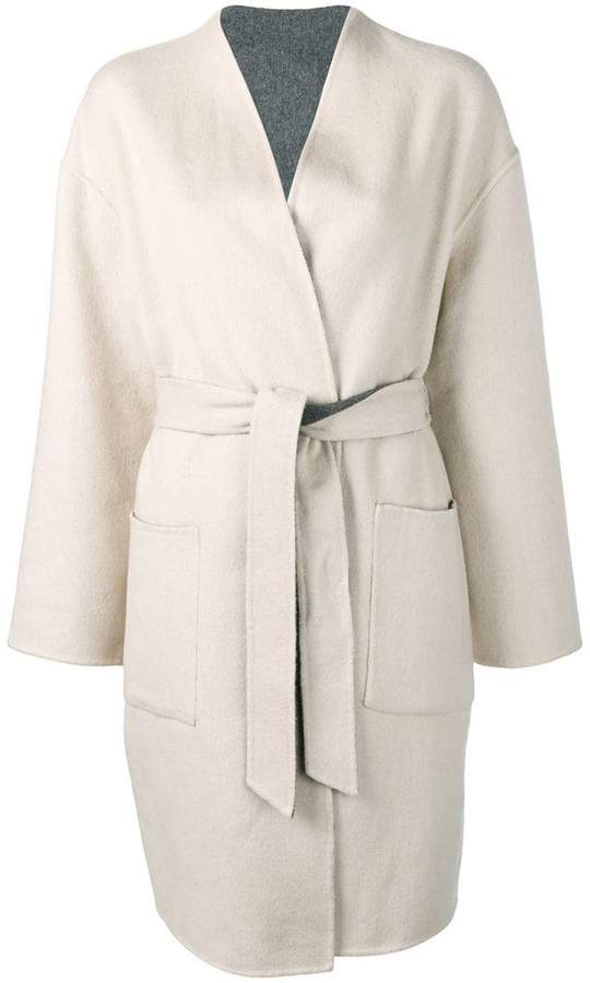 belted single-breasted coat