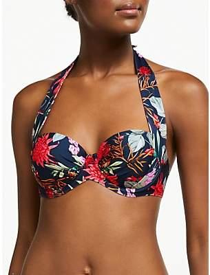 John Lewis & Partners Arizona Botanical Print Sling Halter Bikini Top, Navy/Multi