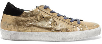 Golden Goose Deluxe Brand - Super Star Distressed Metallic Ostrich-effect Leather Sneakers - IT37 $515 thestylecure.com