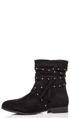 Quiz Black Faux Suede Studded Tie Ankle Boots