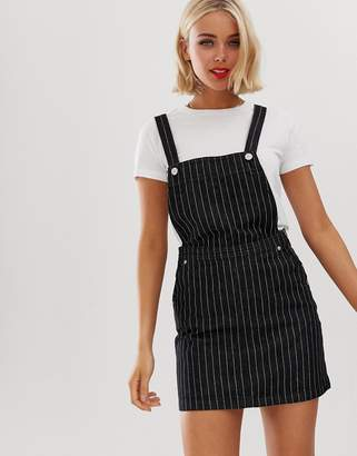 Brave Soul maya dungaree dress in pinstripe denim