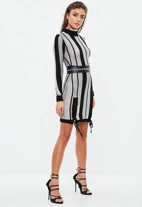 Missguided Black Striped Bodycon Dress