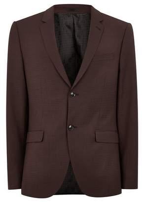 Topman Mens Red Premium Burgundy Check Skinny Fit Blazer