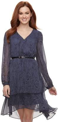 JLO by Jennifer Lopez Women's Tiered Chiffon Shift Dress