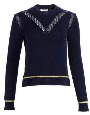 See by Chloe Women's Wool Crewneck Knit - Eternity Blue - Size Small