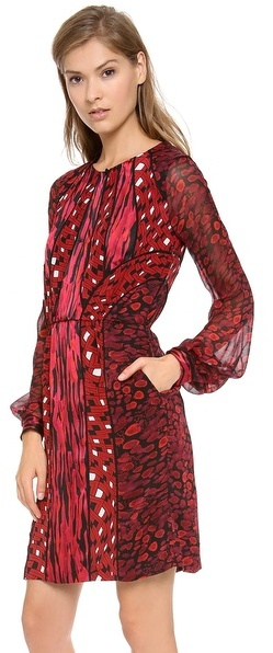 Diane von Furstenberg Kit Print Chiffon Dress
