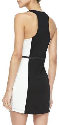 Madison Marcus Bicolor Zip-Peplum Dress