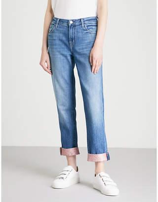 J Brand Johnny glitter-cuff boyfriend-fit straight mid-rise jeans