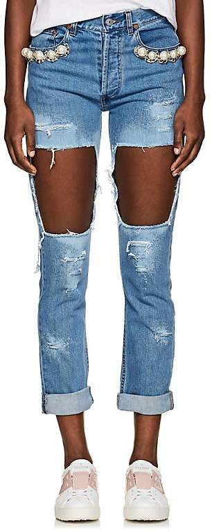 FORTE COUTURE Women's Embellished Distressed Skinny Jeans