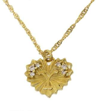 "Ahkah 18K Yellow Gold with Diamonds Heart "" Y"" Motif Design Pendant Necklace"