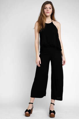 On The Road Halter Tiered Solid Rayon Jumpsuit