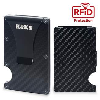 KEKS Carbon Fiber Card Holder - Business Card Holder - Slim Carbon Fiber Wallet - Minimalist Wallet with Money Clip - Anti-Scan RFID Credit Card Holder - Credit Card Case with Cash Clip