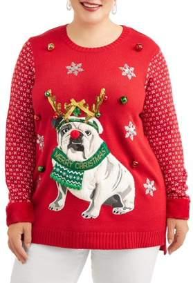 Holiday Time Women's Plus Bulldog Christmas Sweater