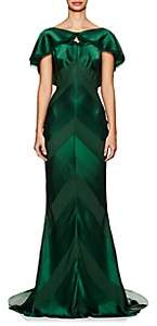 Zac Posen Women's Shadow-Striped Crepe Gown - Forest Green