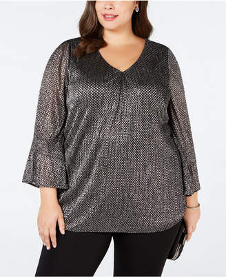 Alfani Plus Size Knit Foil Smock-Sleeve Top, Created for Macy's