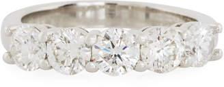 Neiman Marcus Diamonds Platinum Band Ring w/ 5 Diamonds, 1.50tcw, Size 6