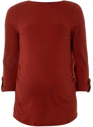 Dorothy Perkins Womens **Maternity Rust Button Tab T-Shirt