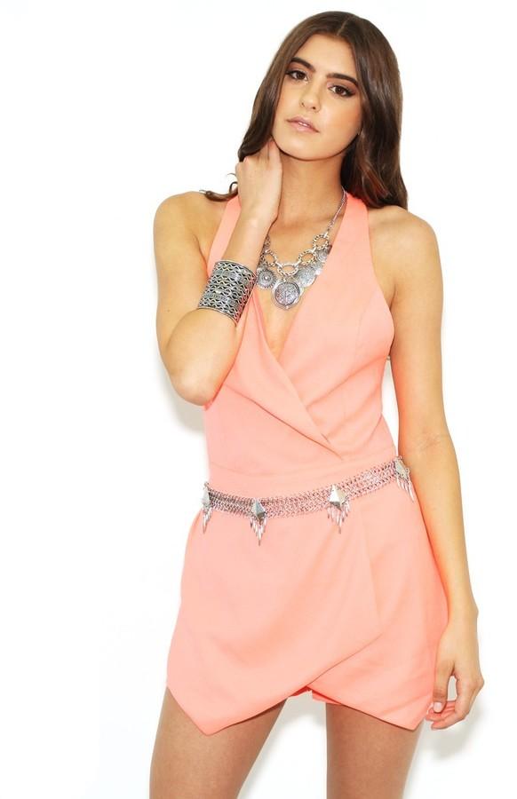 West Coast Wardrobe Rosy Future Romper in Neon Pink