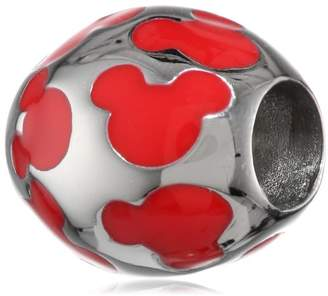 Disney Stainless Mickey Red Enamel Inlay Bead Charm
