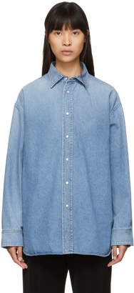 Balenciaga (バレンシアガ) - Balenciaga ブルー シャンブレー タトゥー シャツ
