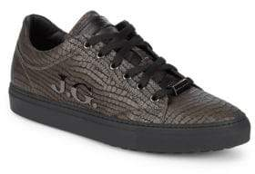 John Galliano Embossed Leather Sneakers