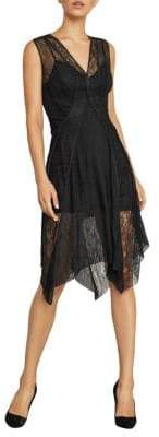 BCBGMAXAZRIA Asymmetrical Lace-Trimmed Dress