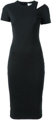 Victoria Beckham shoulder slit fitted dress