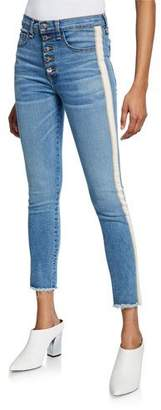 Veronica Beard Carly Kick Flare Jeans with Tuxedo Stripes