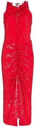 Magda Butrym hilo feather boa velvet mini dress