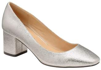 Ravel Womens Block Heel Court Shoe - Silver