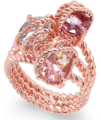 Charter Club Rose Gold-Tone Stone Trio Rope Ring