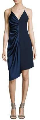Halston Sleeveless V-Neck Satin Slip Dress