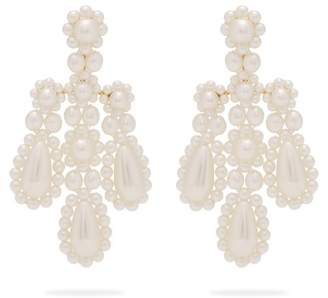 Simone Rocha Faux Pearl And Metal Chandelier Earrings - Womens - Pearl