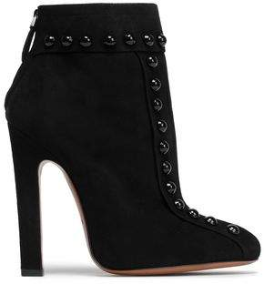 Alaia Button-embellished Suede Ankle Boots