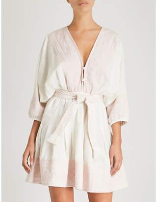 Zimmermann Laelia belted cotton and linen-blend mini dress