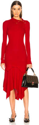 Stella McCartney Handkerchief Hem Long Sleeve Midi Dress in Lover Red | FWRD