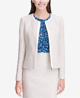 Calvin Klein Petite Tweed Zip-Up Jacket