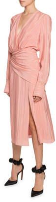 Altuzarra Sade Long-Sleeve Striped Wrap-Dress