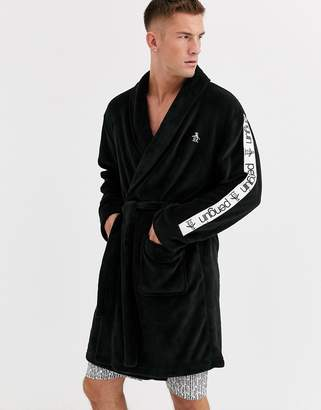 Penguin mens fleece robe in lback with coral taping