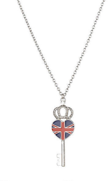 Delia's Union Jack Heart Key Necklace