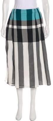Issey Miyake Plaid Midi Skirt