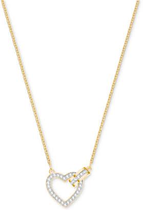 "Swarovski Gold-Tone Crystal Interlocking Heart & Circle 16-1/2"" Pendant Necklace"