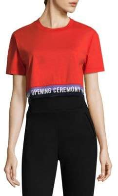 Opening Ceremony Elastic Logo Crop Cotton Tee