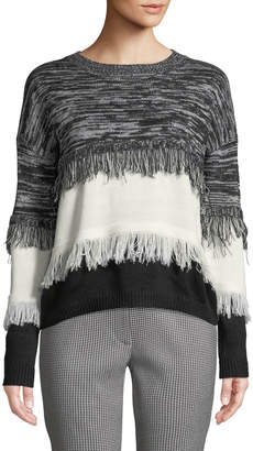 Moon River Color-Block Frayed Pullover