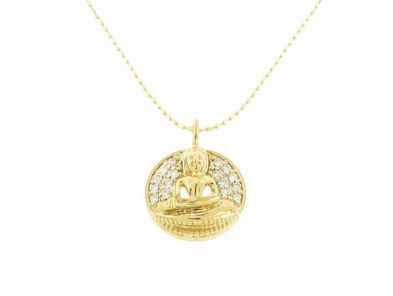 Sydney Evan Sitting Buddha Pendant with Diamonds in Yellow Gold