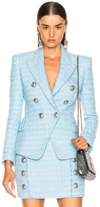 Balmain Six Button Tailored Blazer in Blue | FWRD