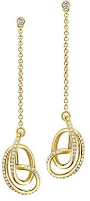 L・I・U Fei Liu Fine Jewellery Serenity Sterling Silver 18ct Gold Plated High Polish Drop Earrings SER925G-204-CZ00